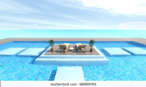 empty exterior with Sunbathing deck and Wood sofa with swimming pool and sea 3d rendering Vacation time
