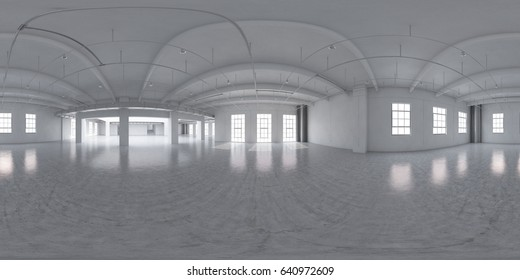 Empty factory interior. 3d render 360. Equirectangular size.