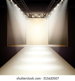 Empty fashion runway podium stage interior realistic background  illustration