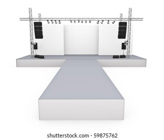 Empty fashion show stage with catwalk. 3D rendered image.