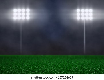 Empty Field with Spotlights and Smoke