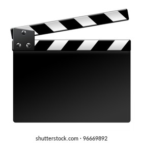 Empty film clapper isolated isolated on white background