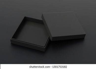 Empty flat black leather square box on black background. 3d illustration