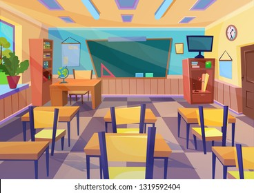 Empty  flat cartoon school class room interior with board desk.