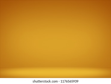 Empty floor backdrop yellow room studio gradient spotlight backdrop 3d render. displays for product.