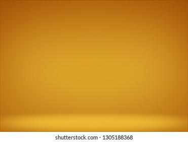 Empty floor backdrop yellow room studio gradient spotlight backdrop 3d render. displays for product.