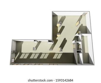 Empty floor plan office room planning above view 3d render illustration