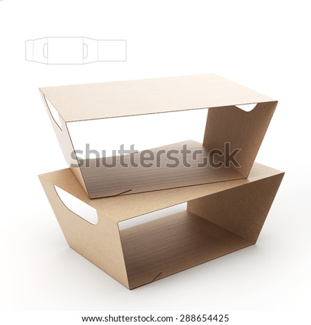 Empty Food Tray Sleeve Packaging Handles Stock Illustration ...