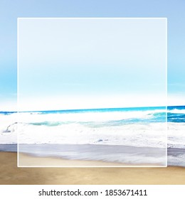 Empty frame on top of a photo image of sandy beach and bright blue and white waves. Zoom background, Insta story background, Facebook post, sunny vacation. Relaxing social media post