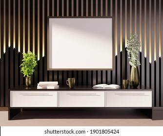 Empty frame template above the table. Black wooden background. 3D rendering.