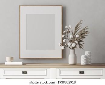 Empty frame for your artwork.3d render. Frame in interior