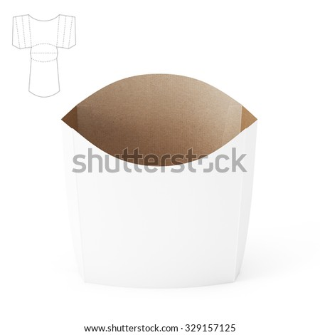 Empty French Fries Potato Pocket Package With Die Line Template