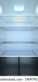 Empty fridge. 3D render