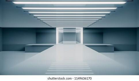 Empty futuristic interior. Fashion podium. Catwalk runway stage. Elegance pedestal platform. 3D Rendering