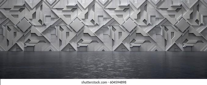 Empty Futuristic Room (3d Illustration)
