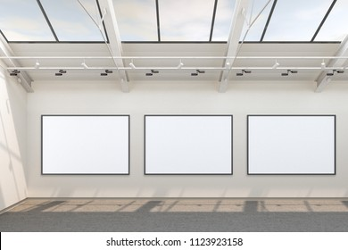 Empty gallery interior with three blank horizontal posters with clipping path around banners. 3d Illustration