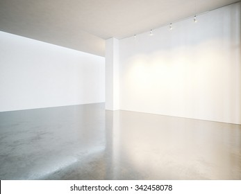 Empty gallery interior with white canvas and concrete floor. 3d render