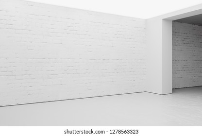 Empty gallery with white brick and ceiling light. 3D Rendering