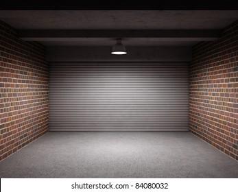 Empty garage with metallic roller shutter door