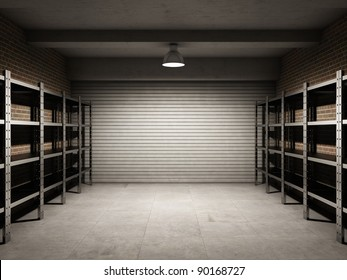 Empty garage with metallic shelves