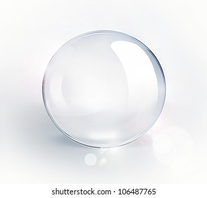 empty glass ball on a light background
