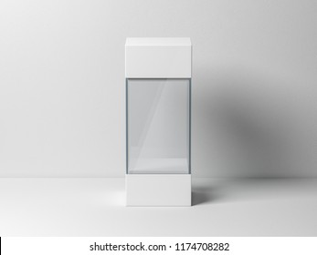 Empty glass box package mockup for exhibit, 3d rendering