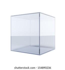 Empty glass cube