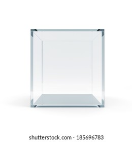 Empty Glass Cube isolated on white background