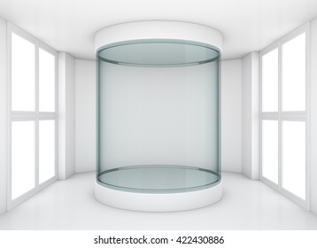 Empty glass cylindrical showcase in clean gallery room with windows. 3D rendering