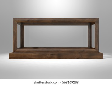 An empty glass display case with a wooden base and frame on an isolated studio background - 3D rendering