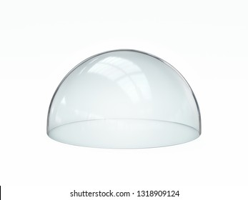 Empty glass dome, transparent hemisphere cover 3d rendering