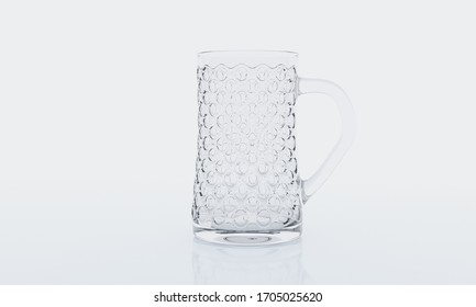 Empty glass on white background with  reflection . It clear and purity .  3D Rendering.