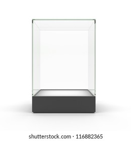 Empty glass showcase for exhibit isolated