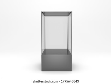 Empty glass showcase front view 3d rendering illustration. Blank presentation mock up podium. Transparent clear exhibition case template. Glass box vitrine for gallery or store.