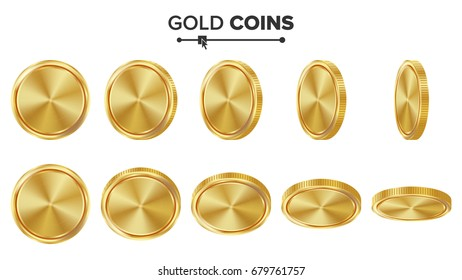 Empty Gold Coins Set. Realistic Template Illustration. Flip Different Angles. Blank Money Front Side. Investment Concept. Finance Coin Icon, Sign, Success Banking Cash Symbol