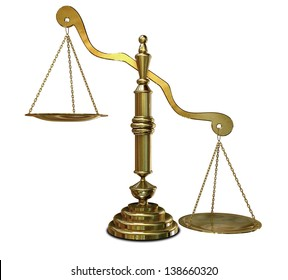 An empty gold justice scale with one side outweighing the the other on an isolated background