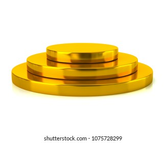 Empty golden podium 3d illustration on white background