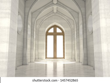 An empty grand church interior lit by suns rays through a stained glass window depicting the nativity scene - 3D render