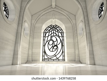 An empty grand stone church interior lit by suns rays through a decorative glass window depicting the nativity scene in the daytime - 3D render
