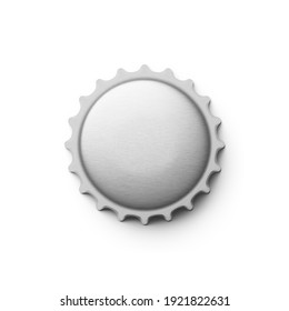 Empty gray silver metal soda or beer cap isolated on white background. 3d rendering illustration.