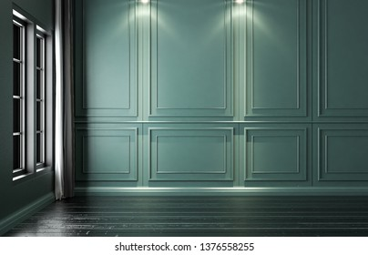 Empty green interior classic, decorative dark green wall, mock-up, 3D render 3D illustration