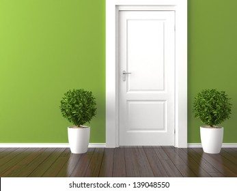 empty green wall with white door