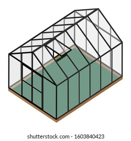 Empty greenhouse with closed door and opened window isometric view isolated on white background. Glass house.