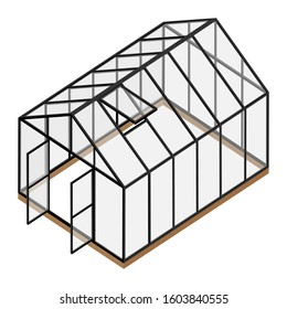 Empty greenhouse with opened window and door isometric view isolated on white background. Glass house.