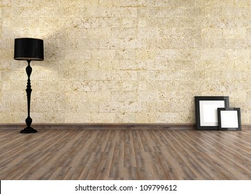 empty grunge interior with old stone wall - rendering