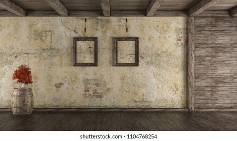Empty grunge interior with old wal,wooden paneling and bonsai on barrel - 3d rendering