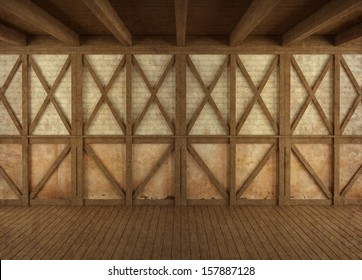Empty grunge room with wooden structure and brick wall