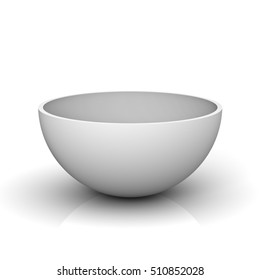 Empty half of a hollow sphere or white bowl isolated on white background with reflection. 3D rendering.