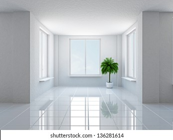 The empty hall with plant and windows