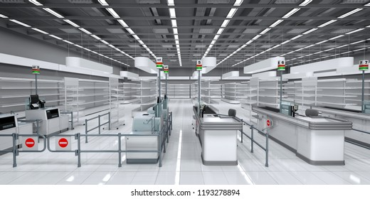 Empty hall of a supermarket, with shelves and cash registers. 3d illustration